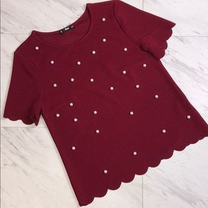Burgundy Pearl Scallop Top Short Sleeve Tops Shirt